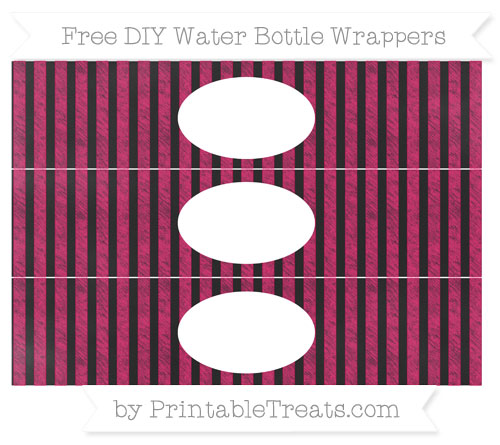 Free Ruby Pink Striped Chalk Style DIY Water Bottle Wrappers