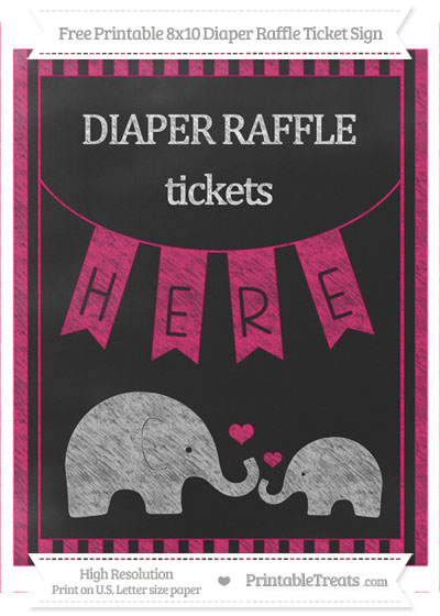 Free Ruby Pink Striped Chalk Style Elephant 8x10 Diaper Raffle Ticket Sign