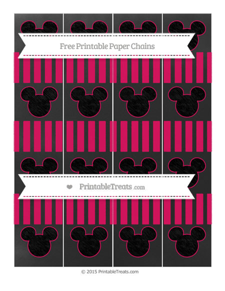 Free Ruby Pink Striped Chalk Style Mickey Mouse Paper Chains