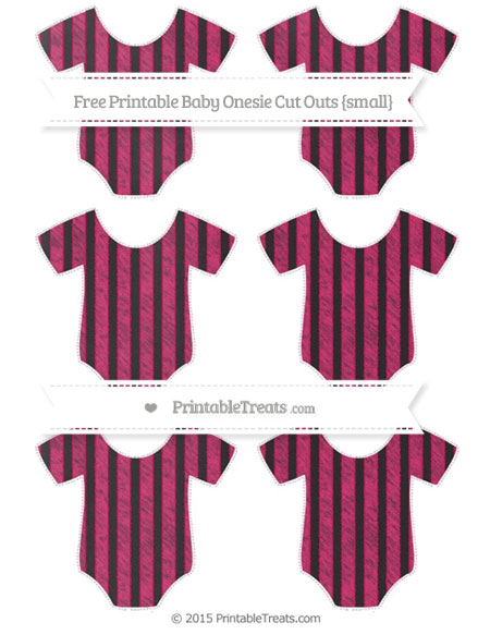 Free Ruby Pink Striped Chalk Style Small Baby Onesie Cut Outs
