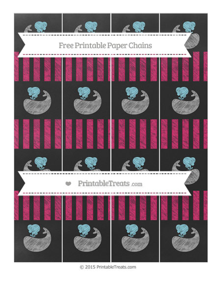 Free Ruby Pink Striped Chalk Style Whale Paper Chains