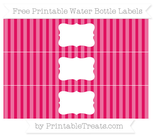 Free Ruby Pink Striped Water Bottle Labels