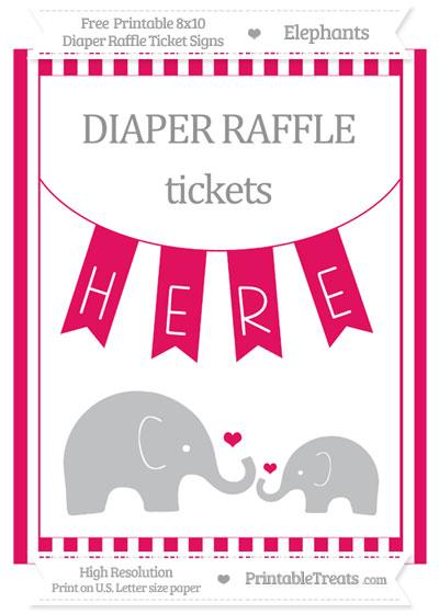 Free Ruby Pink Striped Elephant 8x10 Diaper Raffle Ticket Sign