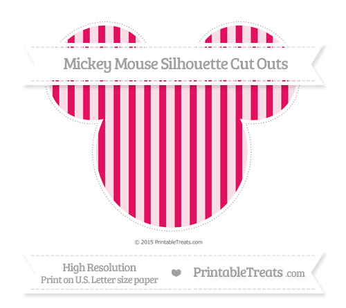 Free Ruby Pink Striped Extra Large Mickey Mouse Silhouette Cut Outs