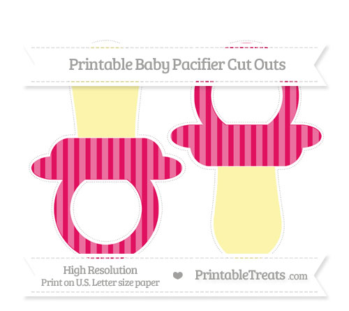 Free Ruby Pink Striped Large Baby Pacifier Cut Outs
