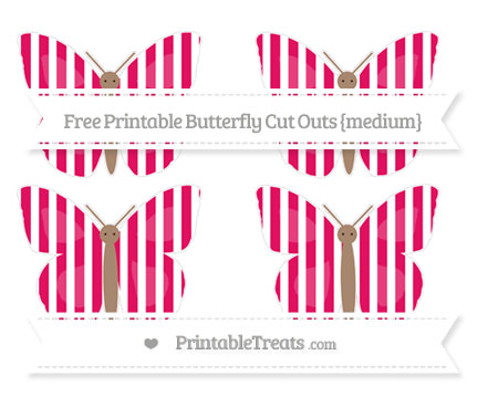 Free Ruby Pink Striped Medium Butterfly Cut Outs