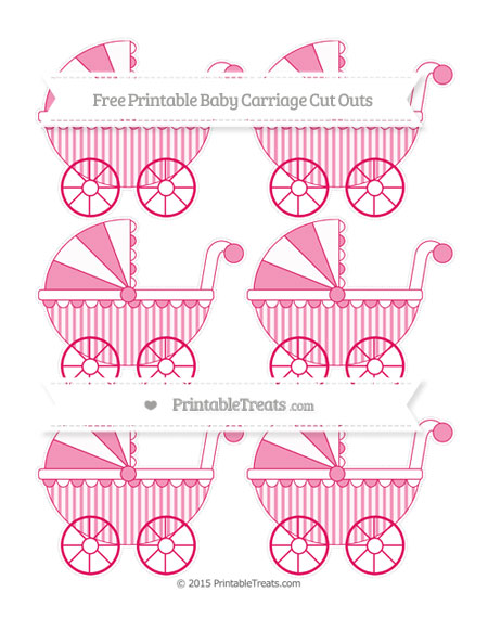 Free Ruby Pink Striped Small Baby Carriage Cut Outs
