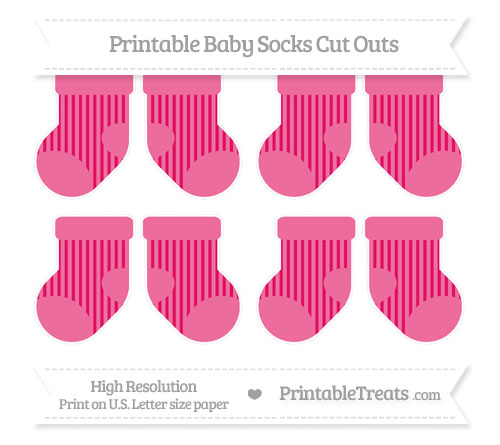 Free Ruby Pink Striped Small Baby Socks Cut Outs