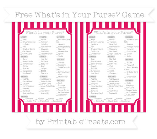 Free Ruby Pink Striped What's in Your Purse Baby Shower Game