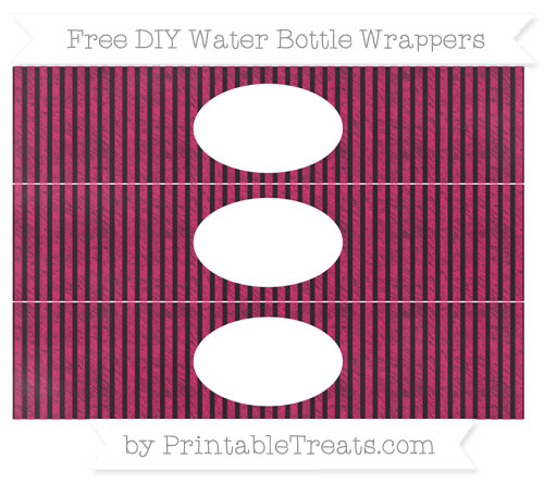 Free Ruby Pink Thin Striped Pattern Chalk Style DIY Water Bottle Wrappers