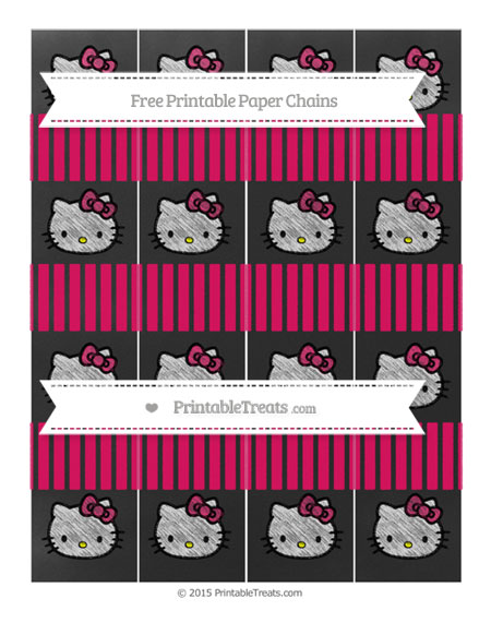 Free Ruby Pink Thin Striped Pattern Chalk Style Hello Kitty Paper Chains