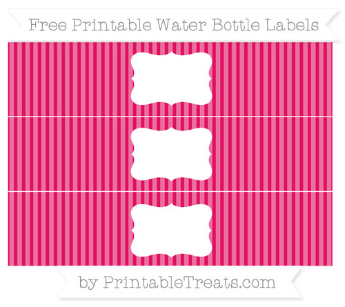 Free Ruby Pink Thin Striped Pattern Water Bottle Labels
