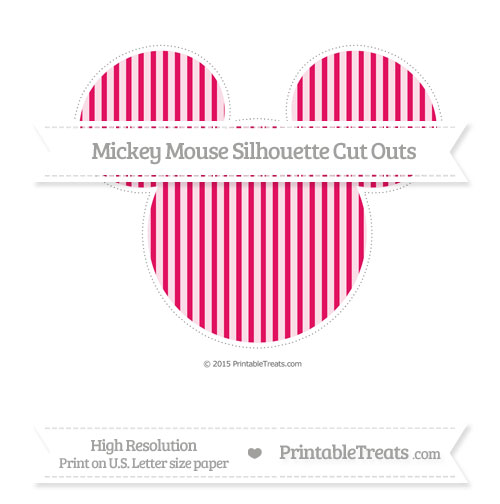 Free Ruby Pink Thin Striped Pattern Extra Large Mickey Mouse Silhouette Cut Outs