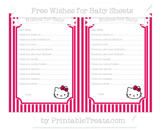 Free Ruby Pink Thin Striped Pattern Hello Kitty Wishes for Baby Sheets