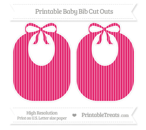 Free Ruby Pink Thin Striped Pattern Large Baby Bib Cut Outs