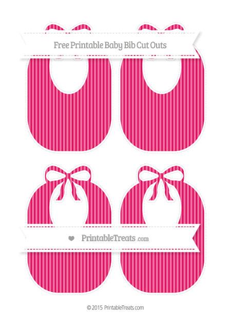Free Ruby Pink Thin Striped Pattern Medium Baby Bib Cut Outs
