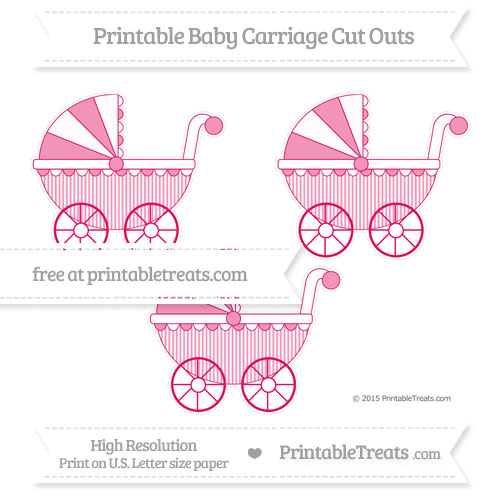 Free Ruby Pink Thin Striped Pattern Medium Baby Carriage Cut Outs