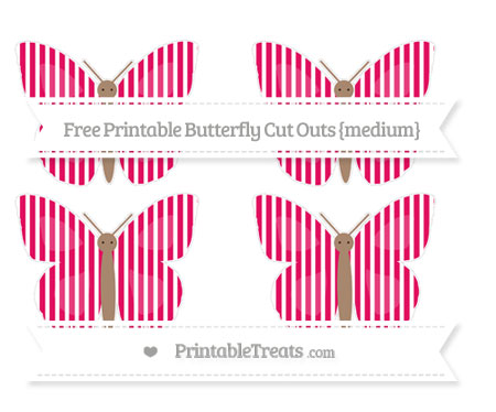 Free Ruby Pink Thin Striped Pattern Medium Butterfly Cut Outs