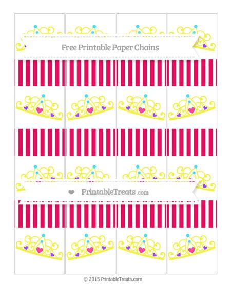 Free Ruby Pink Thin Striped Pattern Princess Tiara Paper Chains