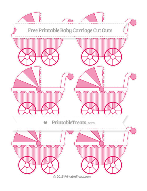 Free Ruby Pink Thin Striped Pattern Small Baby Carriage Cut Outs