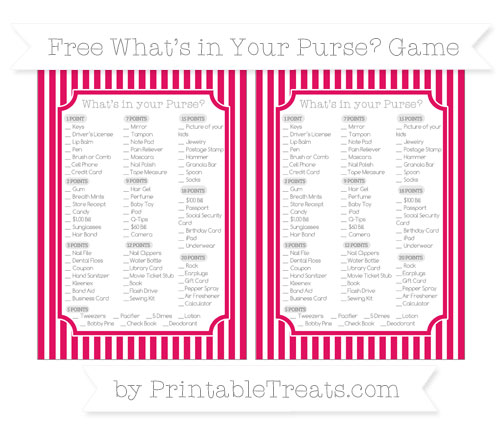 Free Ruby Pink Thin Striped Pattern What's in Your Purse Baby Shower Game