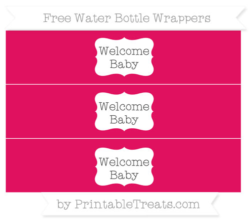 Free Ruby Pink Welcome Baby Water Bottle Wrappers