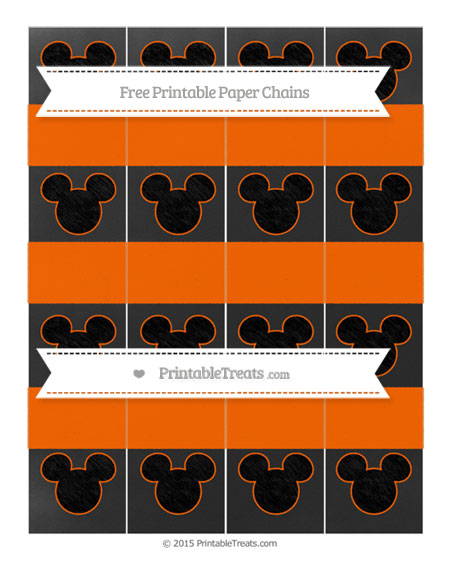 Free Safety Orange Chalk Style Mickey Mouse Paper Chains