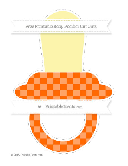 Free Safety Orange Checker Pattern Extra Large Baby Pacifier Cut Outs