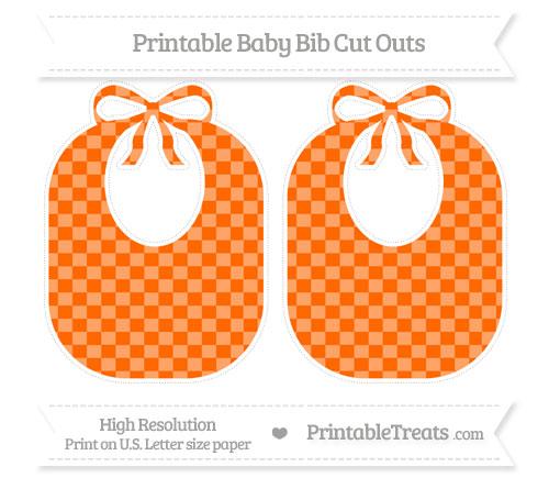Free Safety Orange Checker Pattern Large Baby Bib Cut Outs