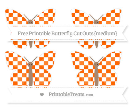 Free Safety Orange Checker Pattern Medium Butterfly Cut Outs