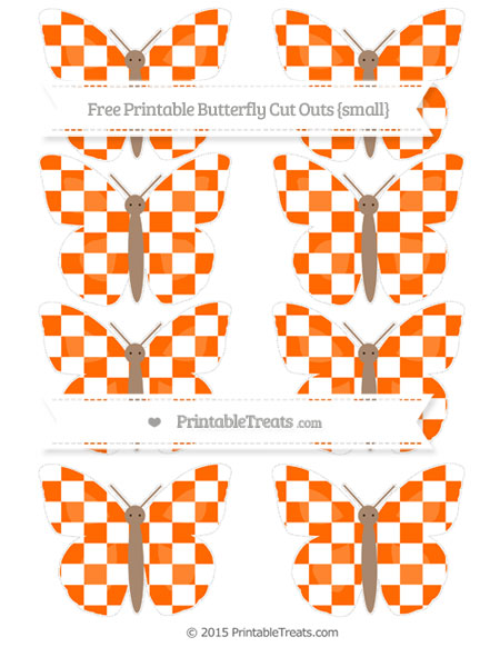Free Safety Orange Checker Pattern Small Butterfly Cut Outs
