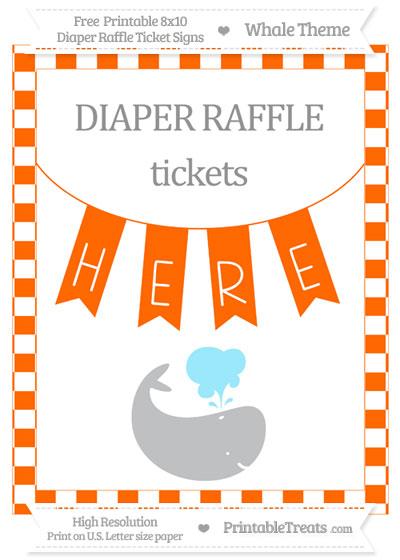 Free Safety Orange Checker Pattern Whale 8x10 Diaper Raffle Ticket Sign