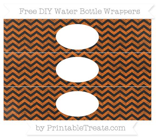 Free Safety Orange Chevron Chalk Style DIY Water Bottle Wrappers