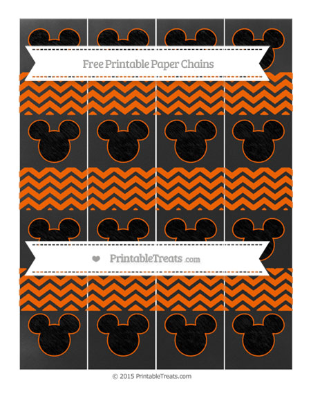 Free Safety Orange Chevron Chalk Style Mickey Mouse Paper Chains