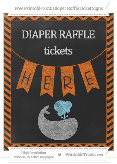 Free Safety Orange Chevron Chalk Style Whale 8x10 Diaper Raffle Ticket Sign