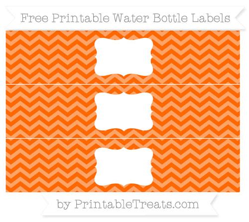Free Safety Orange Chevron Water Bottle Labels