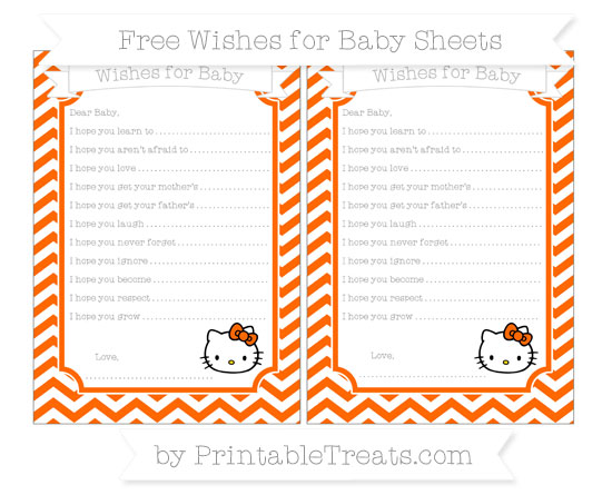 Free Safety Orange Chevron Hello Kitty Wishes for Baby Sheets