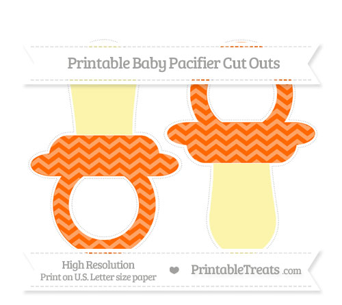 Free Safety Orange Chevron Large Baby Pacifier Cut Outs