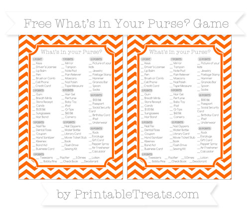 Free Safety Orange Chevron What's in Your Purse Baby Shower Game