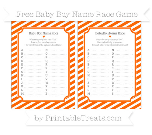 Free Safety Orange Diagonal Striped Baby Boy Name Race Game
