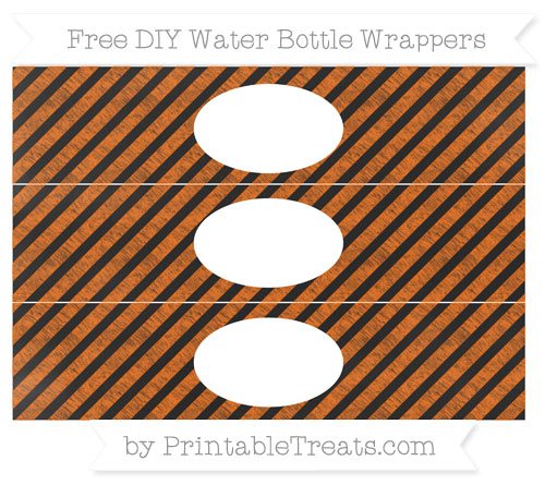Free Safety Orange Diagonal Striped Chalk Style DIY Water Bottle Wrappers