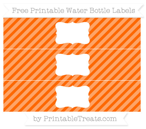 Free Safety Orange Diagonal Striped Water Bottle Labels