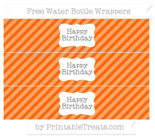 Free Safety Orange Diagonal Striped Happy Birhtday Water Bottle Wrappers