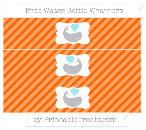 Free Safety Orange Diagonal Striped Whale Water Bottle Wrappers