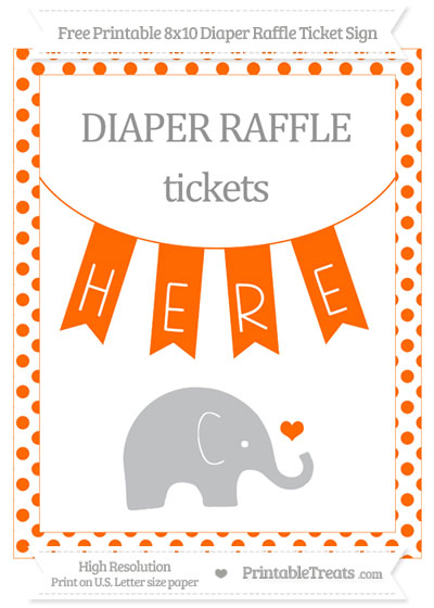 Free Safety Orange Dotted Baby Elephant 8x10 Diaper Raffle Ticket Sign