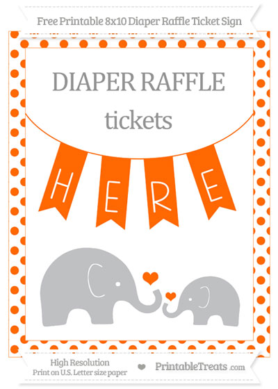 Free Safety Orange Dotted Elephant 8x10 Diaper Raffle Ticket Sign
