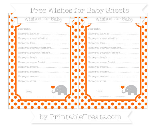 Free Safety Orange Dotted Pattern Baby Elephant Wishes for Baby Sheets