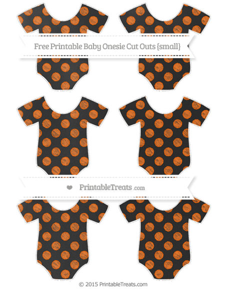 Free Safety Orange Dotted Pattern Chalk Style Small Baby Onesie Cut Outs