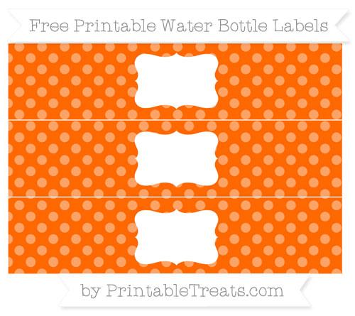 Free Safety Orange Dotted Pattern Water Bottle Labels