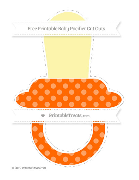 Free Safety Orange Dotted Pattern Extra Large Baby Pacifier Cut Outs